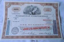 100 Dollar Aktie USA Marlennan Corporation 1969 Corpor. Seal Delaware 11.07.1975