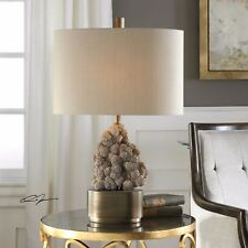 "NEW 26"" AGED BRONZE METAL TABLE LAMP RUSTIC CAST DESERT ROSE SELENITE LIGHT"