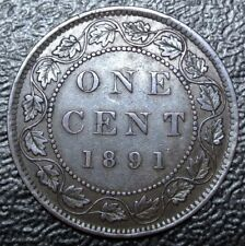 OLD CANADIAN COIN 1891 SD SL - ONE CENT - LARGE CENT - Victoria - Nice DETAILS