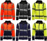 Mens Premium Safety Hi Vis Viz Visibility Lined Work Fleece Jacket