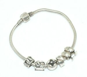 Lovely Authentic Chamilia Bracelet with 6 Charms Sterling Silver-Suitecast-Apple