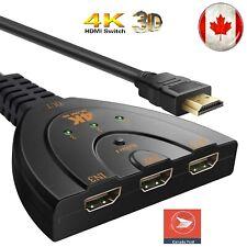 4K UltraHD 3-Port HDMI Multi Display Auto Switch Box Splitter 1080P Cable CA