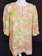 Lilly Pulitzer Linen Tunic Mini Dress Orange Green Yellow Embellished XSmall