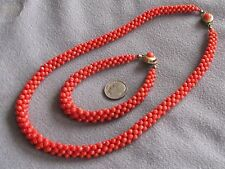 Victorian Antique Woven Natural Italian Red Coral Bead Necklace & Bracelet