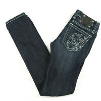 Miss Me Womens Skinny Jeans Size 26 Dark Blue Wash Midnight Low Rise Embellished