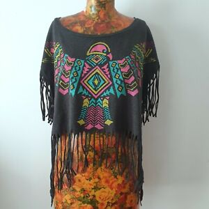 KENJI - Size 14 ladies grey rainbow eagle fringed crop t-shirt top boho festival