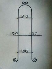 "Wrought Iron Black Scroll Wall 4 Dinner Plate Vertical Display Rack 35 1/4"" High"