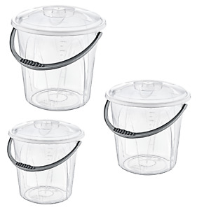 Small Large Clear Plastic Bucket With Lid Carry Handle Storage Container Box Bin