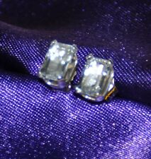 7MM x 5MM EMERALD CUT AQUAMARINE EARRINGS-- 1.00CTW -- .925 STERLING SILVER