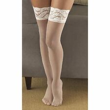 Berkshire Shimmers Sheer Invisible Toe Thigh-High Ivory Stockings Size C-D