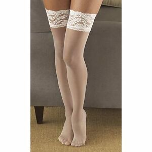 Berkshire Shimmers Sheer Invisible Toe Thigh-High Ivory Stockings Size A-B