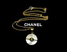 Chanel Mother of Pearl Gold Circle CC Round Pendant Necklace