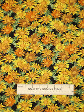 South Sea Imports Sunshower Yellow Gold Daisies Daisy Floral Cotton Fabric YARD