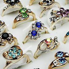 Wholesale Jewelry Lot 30PCS Women Mulitcolored Rhinestones Gold Rings mixed NEW
