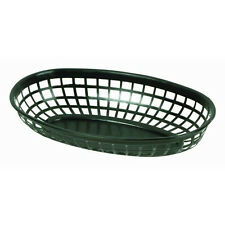 "4 Pieces Plastic Fast Food Basket Baskets Tray 9-3/8"" Oval Black Plbk938K"