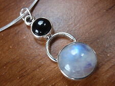 Moonstone Black Onyx 925 Sterling Silver Necklace New