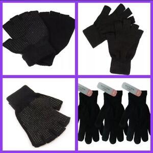 Ladies / Girls / Boys Fingerless/Normal Magic Gloves - Plain Black -One Size Lot