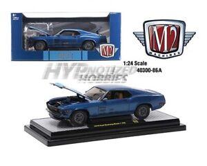 M2 MACHINES 1:24 1970 FORD MUSTANG MACH 1 428 DIE-CAST BLUE 40300-86A