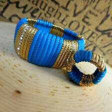 Stretchable Turquoise & Gold Bracelet and Ring Set