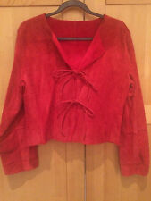 *NWOT* NEWPORT NEWS Red Suede Genuine Leather Faux Fur Lined Jacket - Size 14