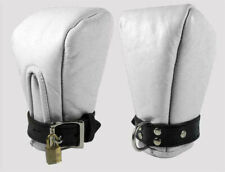 REAL SOFT LEATHER BONDAGE PADDED MITTS WITH LOCKABLE BUCKLE