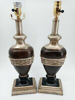 Vintage Table Lamps Set Of 2 Light Brown Leather Look Metallic Gold Modern