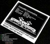 Custom Aufkleber/Sticker passend für LEGO® 10277 RC Train Crocodile Locomotive