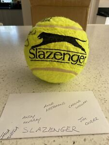 """Large 7"""" Slazenger Tennis Ball Signed By Andy Murray & Others 2013. Inc COA"""