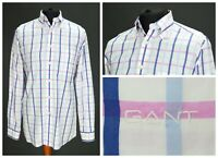 Mens GANT Summer Oxford Shirt White Long Sleeve Check Regular Fit Size M