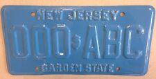 Rare New Jersey vintage PROTOTYPE license plate Error sample NJ 000 ABC