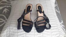 Ann Marino Black Leather Thong Wrap Tie Sandal New in Box Size 8M