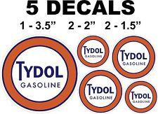 5 Round Tydol Gasoline Vinyl Decals