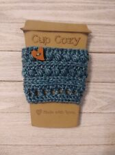 New listing cup cozy coffee drink sleeve crochet Glacier blue button knit handmade new
