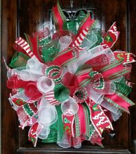 "XL Fluffy Handmade Deco Mesh Wreath  27"" Red White Green Christmas Festive Fun"