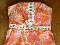 Lilly Pulitzer Shift Dress Size 6 Orange Pink White Floral Print Halter B19