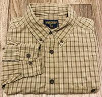 Woolrich Men's XL Button Down Plaid Flannel 100% Cotton Shirt Tan Green