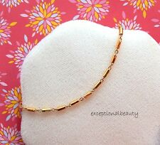 7.5 Inch Bright Gold Tube Beads Link Chain Bracelet Extender Lobster Clasp