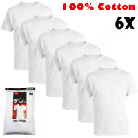 New 6 Pack Mens 100% Cotton Tagless Crew-Neck T-Shirt Undershirt Tee White S-XL