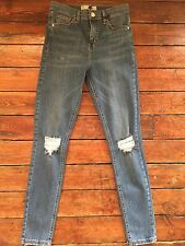 Topshop Moto Skinny Jeans Jamie Ripped Blue Size 10 W28 Fit L32 Rb11 Defect