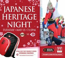 San Francisco Giants Japanese Heritage night special event backpack 5/15/18