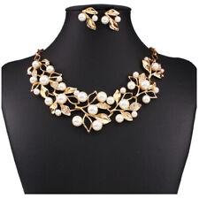 Silver Diamante Jewellery Necklace Set Weddings Bride Prom Pearl Ear Stu Jewelry