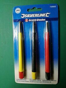 Set x 3 brass steel fiberglass Scratch brush pen pencil removes rust scratches