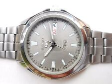 Excellent Big Vintage Seiko 5 Gray Dial Military Style Mens Automatic WristWatch