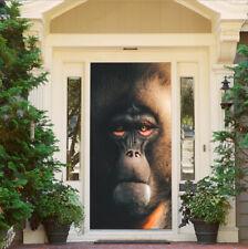 Orangutan Head Decoration Photo Door Stickers Self-Adhesive Door Murals Poster