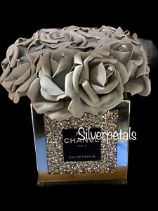 CRUSH DAIMOND HAT BOXES WITH ROSES BLING DECOR