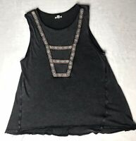 Ecote Urban Outfitters Size Small Tank Top Gray Embroidered 100% Cotton