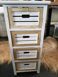 White Shabby Chic Tall Chest 4 Drawers Bedroom Furniture TW0041