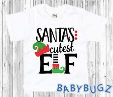 Santa's Cutest Elf T-Shirt Gift Child Toddler/Infant Kids Christmas Xmas Helper