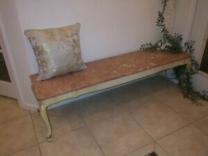 Vintage.White French Provincial Long Coffee Table Bench Rose Pink Italian Marble