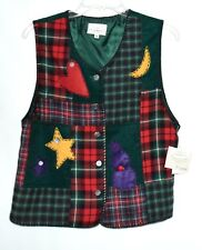 SUSAN BRISTOL Red & Green Check with Stars Moon Hearts Womens Vest Size M NWT